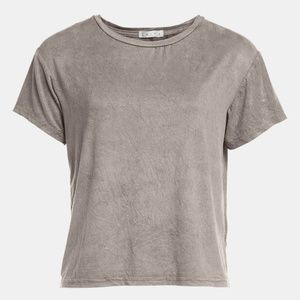 Leith Washed Suede T-Shirt Size XS